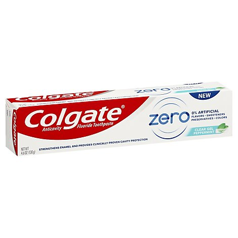 Colgate Zero Toothpaste Anticavity Fluoride Clear Gel Peppermint - 4.6 Oz