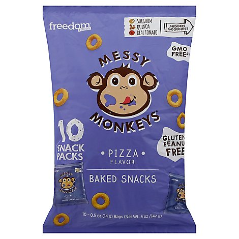Freedom Foods Messy Monkeys Baked Snacks Pizza Flavor - 10-0.5 Oz