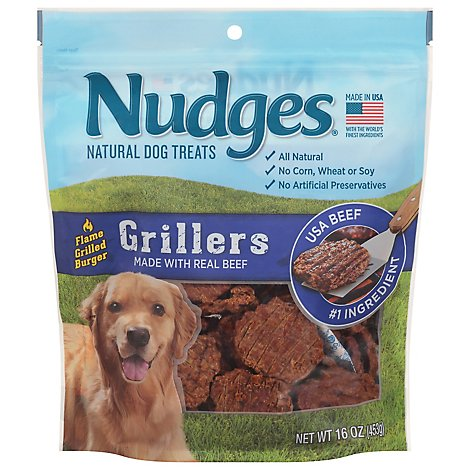 Nudges Natural Dog Treats Grillers Made With Real Beef - 16 Oz