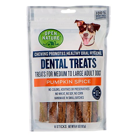 Open Nature Dog Dental Treat Pumpkin Spice 8ct - 6.41 Oz
