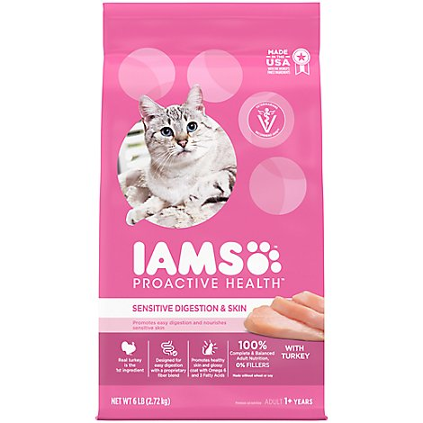 IAMS Proactive Health Cat Food Dry Adult Sensitive Digestion & Skin With Real Turkey - 6 Lb