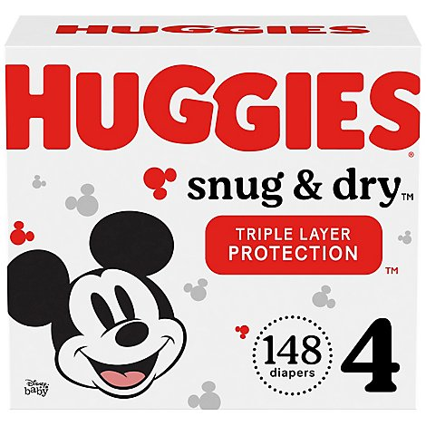 Huggies Snug And Dry Diapers Size 4 Huge Pack - 148 Count