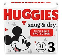 Huggies Snug & Dry Baby Diapers Size 3 - 31 Count