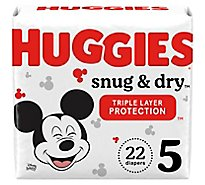 Huggies Snug & Dry Baby Diapers Size 5 - 22 Count