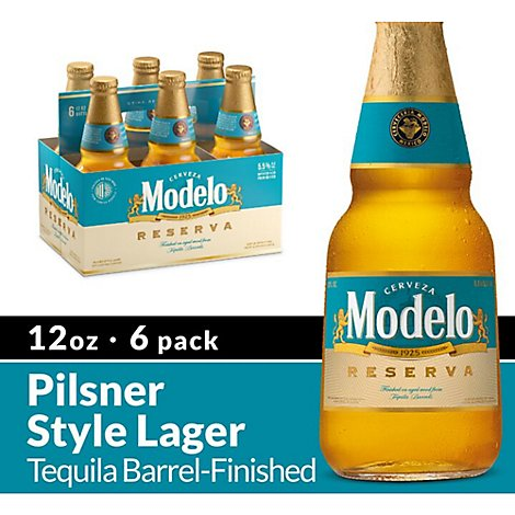Modelo Reserva Tequila Barrel Beer Mexican Lager In Bottles 5.5% ABV - 6-12 Fl. Oz.
