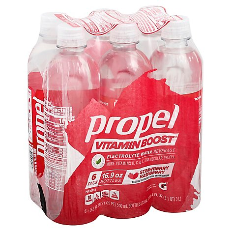 Propel Vitamin Boost Electrolyte Water Beverage Strawberry Raspberry - 6-16.9 Fl. Oz.