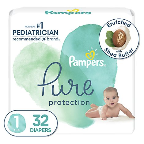 Pampers Pure Protection Newborn Diapers Size 1 - 32 Count