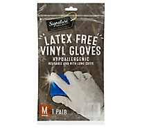 Signature Select Gloves Vinyl Laytex Free Hypo Med - 1 Pair