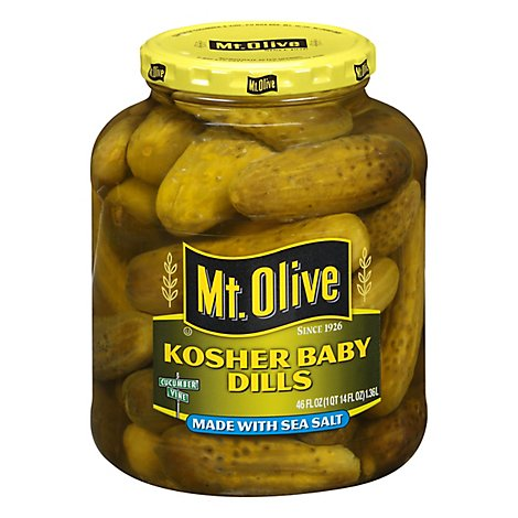 Mt Olive Kosher With Sea Salt Baby Dills - 46 Oz