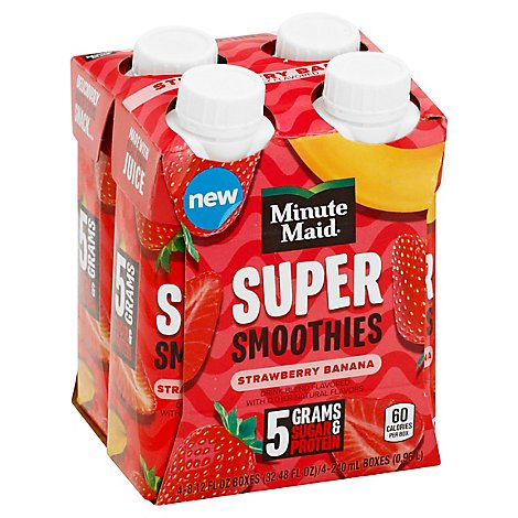 Minute Maid Strawberry Banana Super Smoothies - 4-8.45 Fl. Oz.