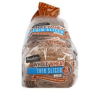 Signature Select Bread 100% Whole Wheat Thin Sliced - 18 Oz