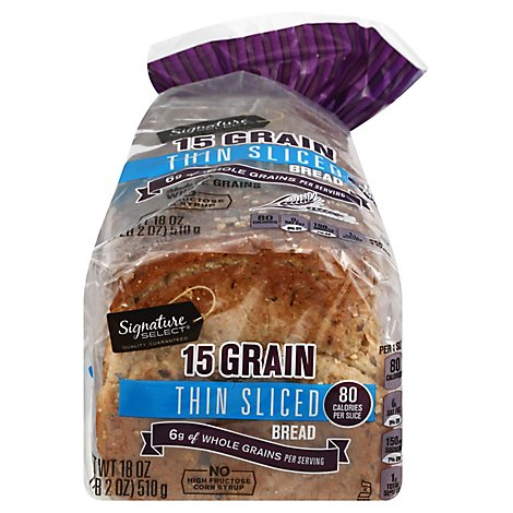 Signature Select Bread 15 Grain Thin Sliced - 18 Oz