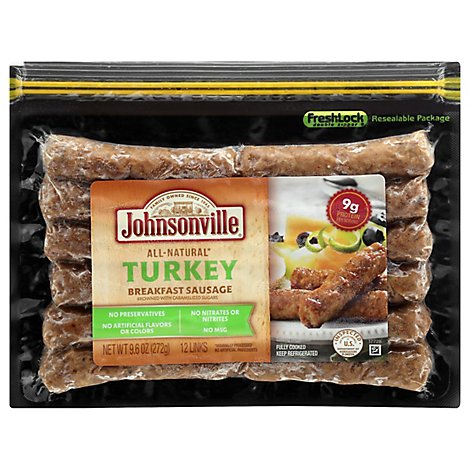 Johnsonville Cooked Natural Turkey Breakfast Sausage Links - 9.6 Oz