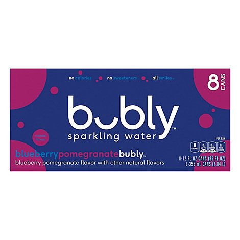 Bubly Sparkling Water Blueberry Pomegrante Flavor - 96 Fl. Oz.