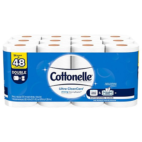 Cottonelle Ultra CleanCare Bathroom Tissue Double Roll 1 Ply - 24 Roll