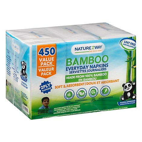Naturzway Bamboo Napkins 2 Ply All Occas - Each