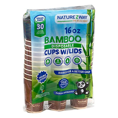 Naturezway Bamboo Hot/Cold 16 Oz. Cups W/Lids - 30 Count