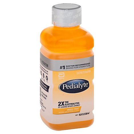 Pedialyte Electrolyte Solution Ready To Drink Mixed Fruit - 16.9 Fl. Oz.