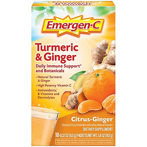 Emergen-C Vitamin C Turmeric & Ginger Powder 250mg - 18 Count