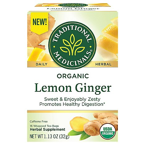 Trad Medicinals Tea Lemon Ginger Org - 16 Count