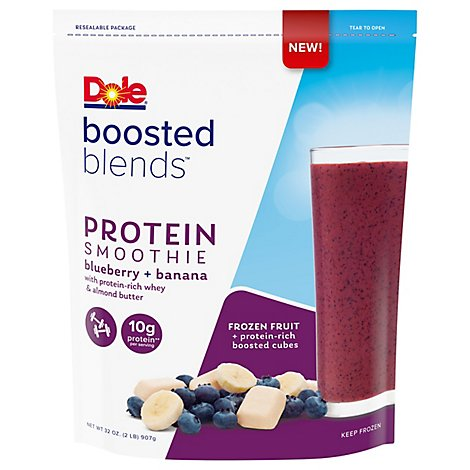 Dole Boosted Blends Smoothie Protein Blueberry And Banana - 32 Oz