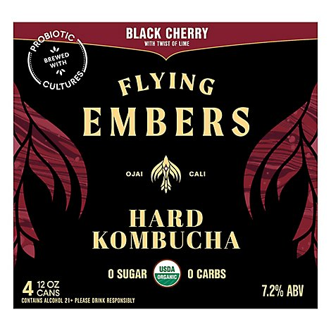 Flying Embers Black Cherry In Cans - 4-12 Fl. Oz.
