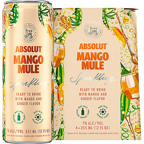 Absolut Sparkling Cocktail Mango Mule - 4-355 Ml