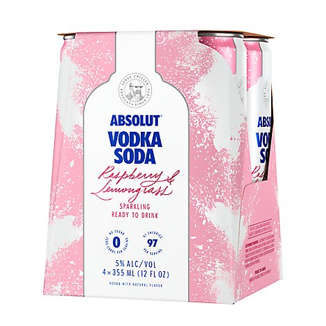 Absolut Vodka Soda Sparkling Raspberry & Lemongrass - 4-355Ml