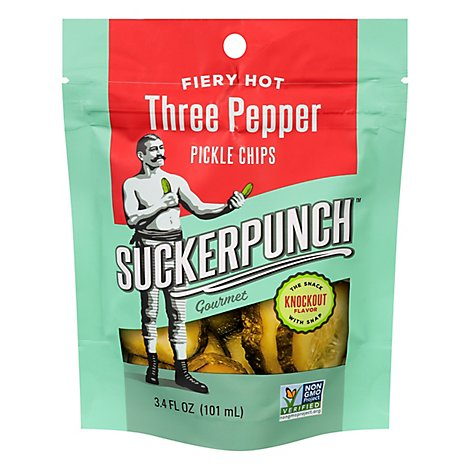 Suckerpunch Pickle Chips 3 Pepper - 3.4 Oz