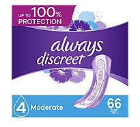 Always Discreet Moderate Absorbency Regular Pads - 66 Count