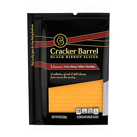 Cracker Barrel Natural Cheese-Slices Wisconsin Extra Sharp Yellow Cheddar S - 8 Oz