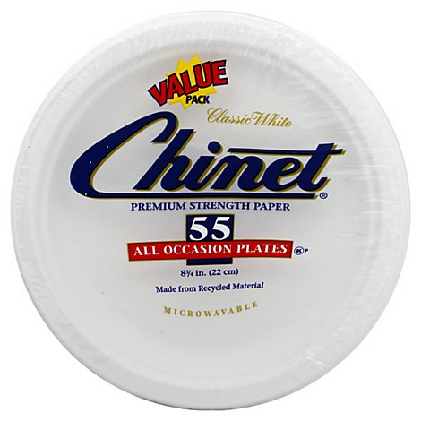 Chinet Ready Pack 8 3/4 Lunch Plate - 55 Count