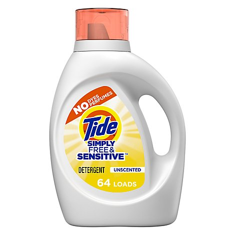 Tide Simply Free & Sensitive Laundry Detergent Liquid Unscented 64 Loads - 92 Fl. Oz.