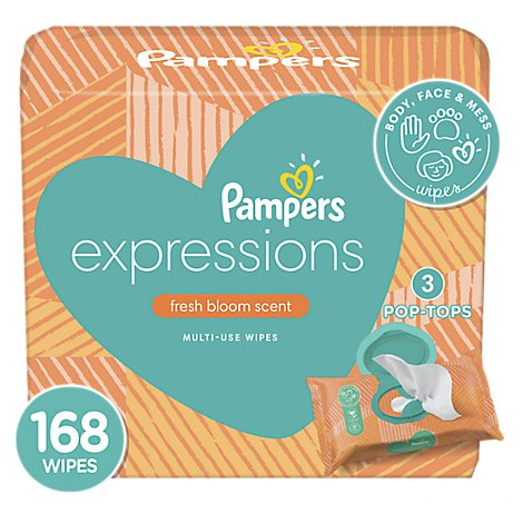 Pampers Baby Wipes Expressions Fresh Bloom Scent Pop Top Packs - 168 Count