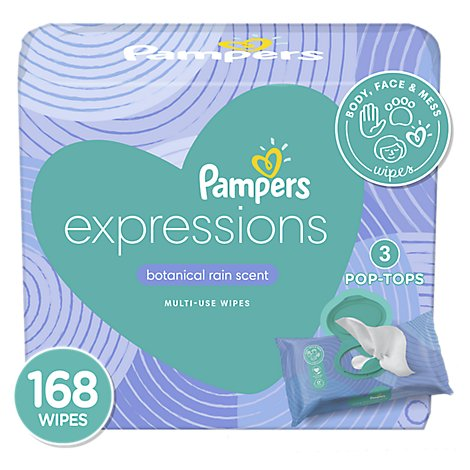 Pampers Baby Wipes Expressions Botanical Rain Scent Pop Top Packs - 168 Count