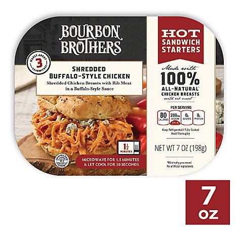 Bourbon Brothers Chicken Shredded Buffalo Style All Natural - 7 Oz