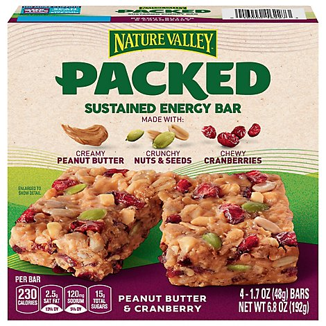 Nature Valley Packed Bars Energy Peanut Butter Cranberry Sustained - 4-1.7 Oz