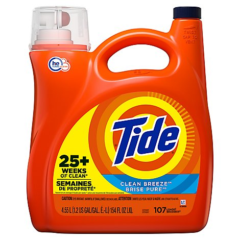 Tide Laundry Detergent Liquid Clean Breeze 107 Loads - 154 Fl. Oz.