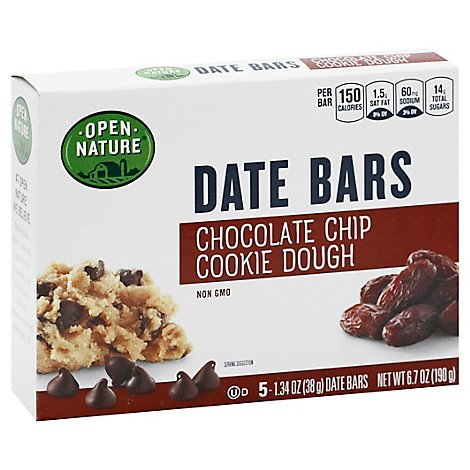 Open Nature Date Bar Choc Chip Cookie Dough - 5-1.34 Oz