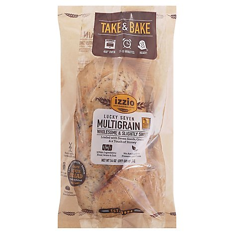 Izzio Artisan Bakery Take & Bake Lucky 7 Multigrain Bread - 14 Oz.