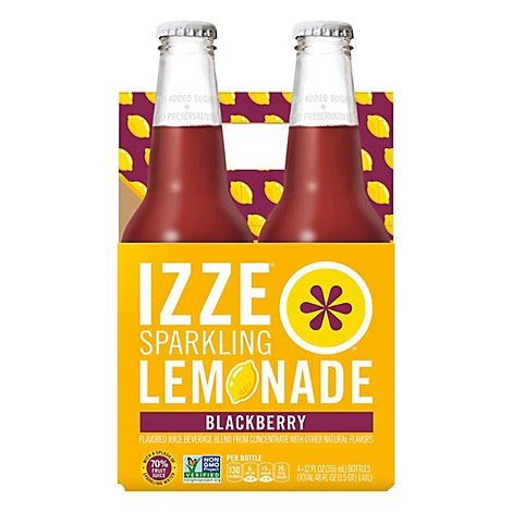 Izze Sparkling Flavored Juice Beverage Blend Lemonade Blackberry - 48 Fl. Oz.