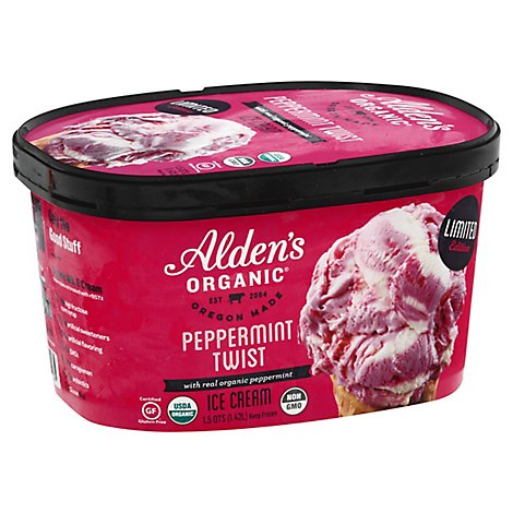 Aldens Organic Ice Cream Peppermint - 48 Oz