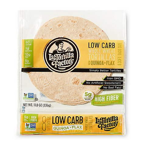 La Tortilla Factory Low Carb Whole Wheat High Fiber Quinoa Flax Tortilla - 8 Count