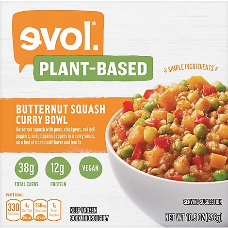 Evol Curry Bowl Plant-Based Butternut Sq - 10.5 Oz