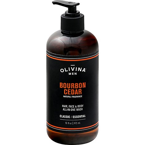 Olivina Bourbon Cedar Mens Body Wash - 16 Oz