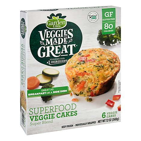 Garden Lites Veggie Cakes Superfood Gluten Free 6 Count - 12 Oz