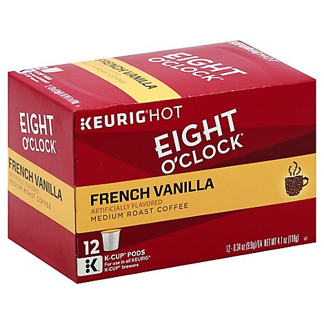Eight OClock Coffee K Cup Pods Medium Roast French Vanilla - 12 Count