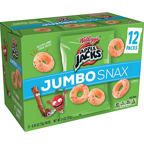 Apple Jacks Jumbo Snax Cereal Snacks Original 12 Count - 5.4 Oz