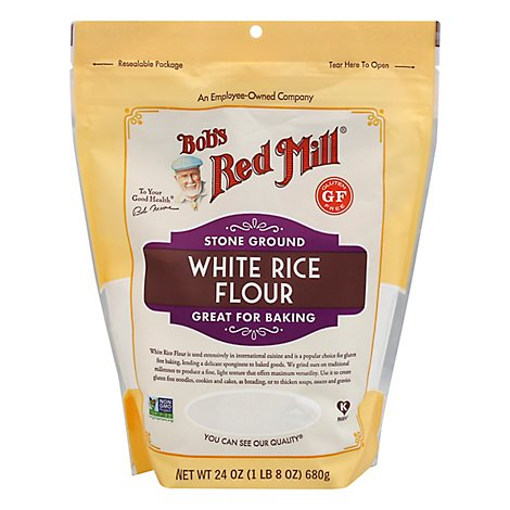 Bobs Red Mill Flour White Rice Stone Ground Gluten Free Non GMO - 24 Oz