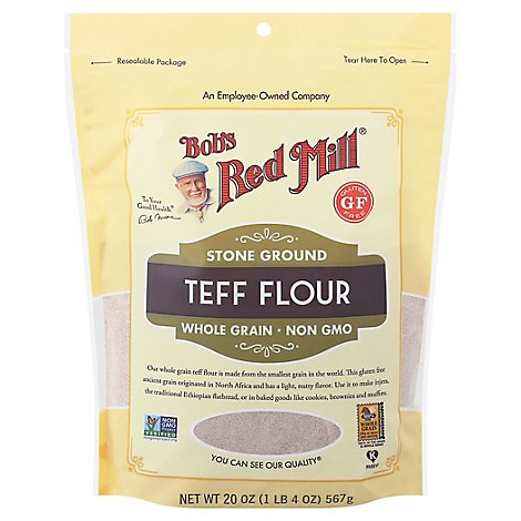 Bobs Red Mill Flour Teff Stone Ground Whole Grain Non GMO Gluten Free - 20 Oz